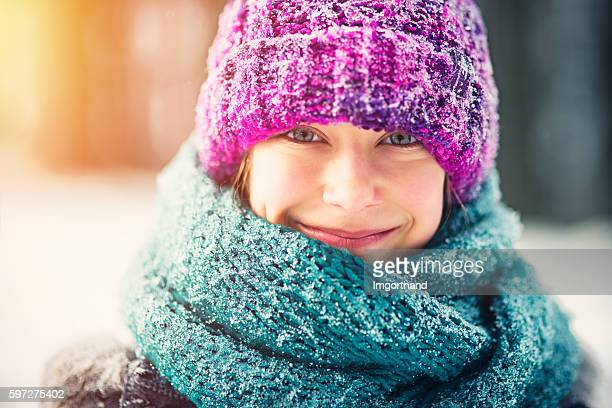 Winter portrait of a little girl