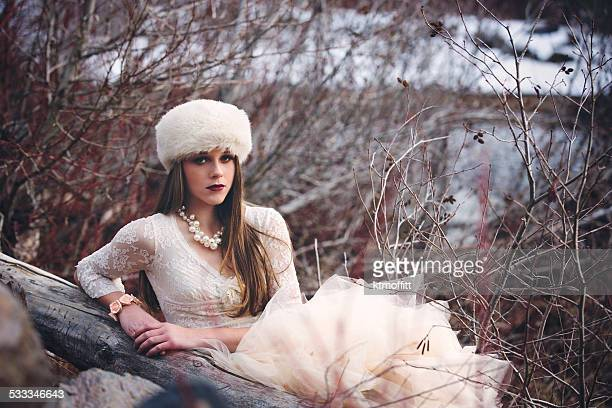 winter portrait of a snow princess - fur hat stock photos and pictures