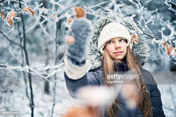 Winter portrait of a teenage girl