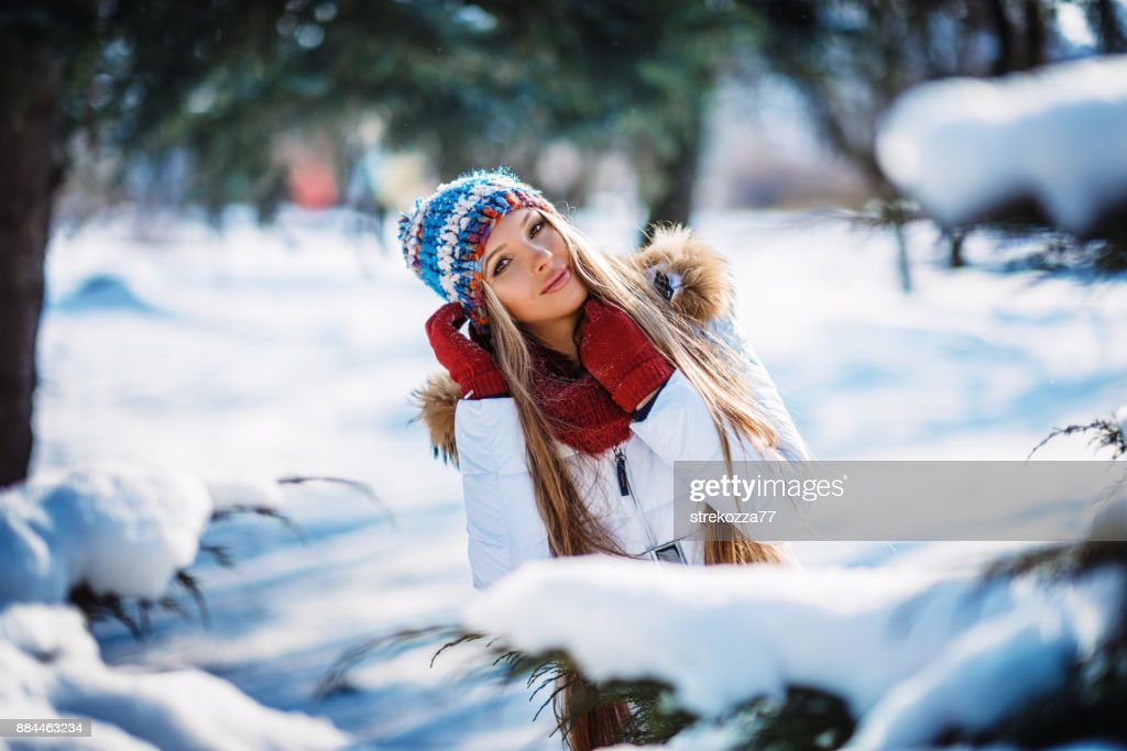 897e9cdc7 Winter Portrait Of Young Beautiful Blond Woman Wearing Knitted Snood ...