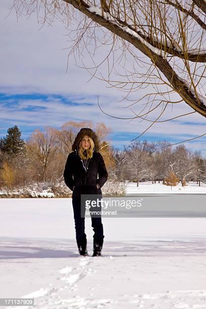 winter portrait - fur trim stock pictures, royalty-free photos & images