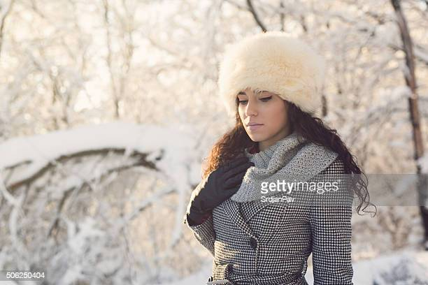winter portrait - fur hat stock photos and pictures