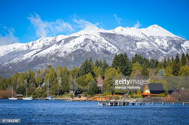 winter postcard bariloche - radicella stock photos and pictures