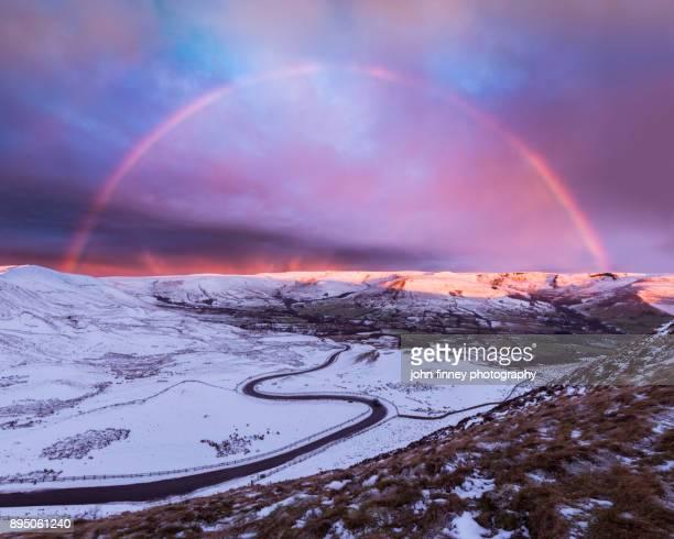 Winter rainbow over Edale valley, Derbyshire, UK