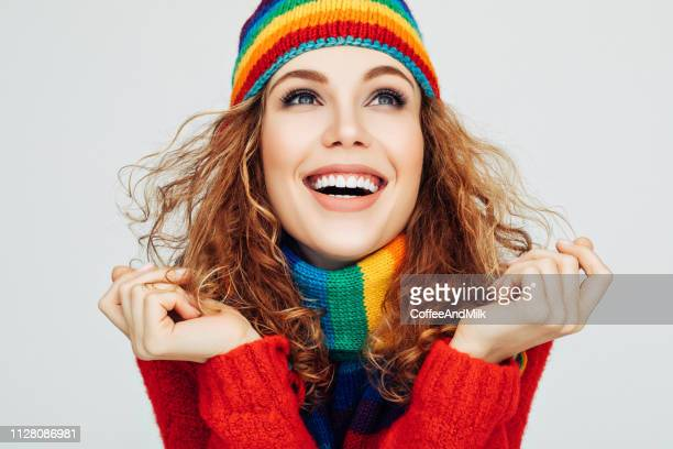 winter rainbow - red hat stock pictures, royalty-free photos & images