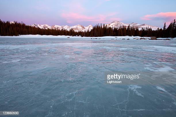 Winter red rock lake