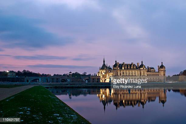 """ winter reflections "" - chantilly picardy stock pictures, royalty-free photos & images"