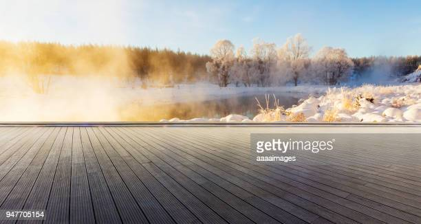 winter rime scenery at daytime - observation point stock pictures, royalty-free photos & images