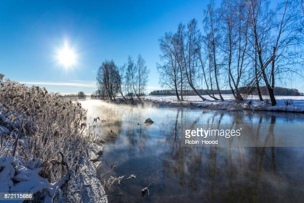 Winter river at sunny day