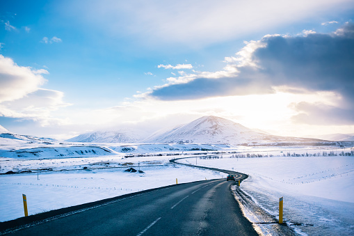 Winter Road at iceland - gettyimageskorea