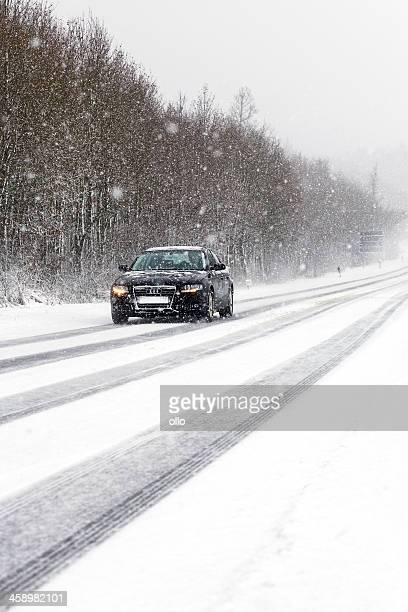 winter road conditions - audi stock pictures, royalty-free photos & images