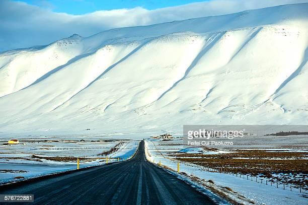 Winter road near Hofsos Iceland
