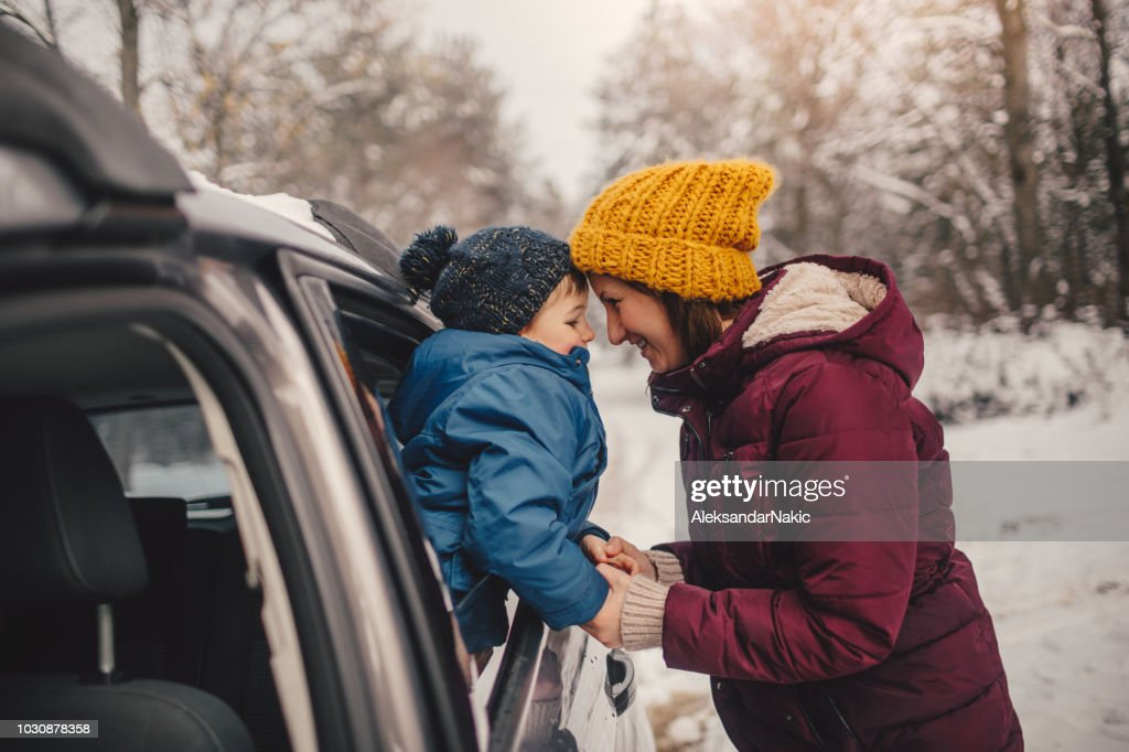Winter road trip with my mom : Stock Photo