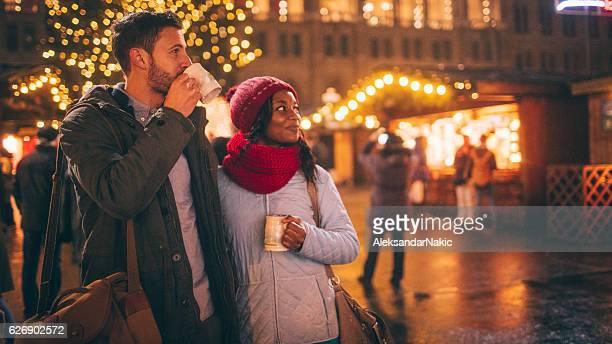 Winter romance on Christmas market