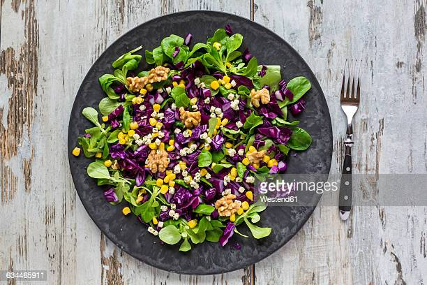 winter salad with lamb's lettuce, red cabbage, corn and feta cheese on plate - rodekool stockfoto's en -beelden