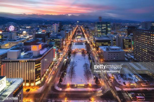 winter sapporo city - hokkaido stock pictures, royalty-free photos & images