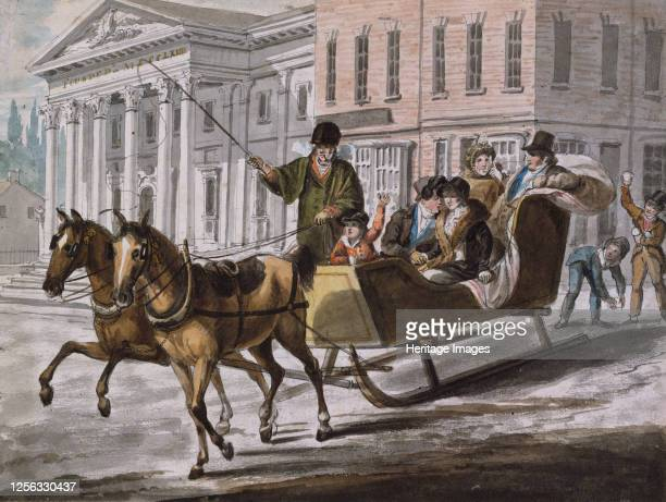Winter Scene in Philadelphia?The Bank of the United States in the Background, 1811-, circa 813. Attributed to John Lewis Krimmel .