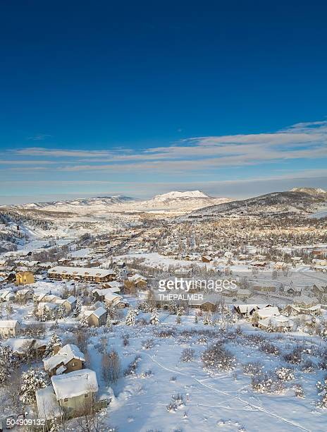 winter scene landscape - steamboat springs colorado stock photos and pictures