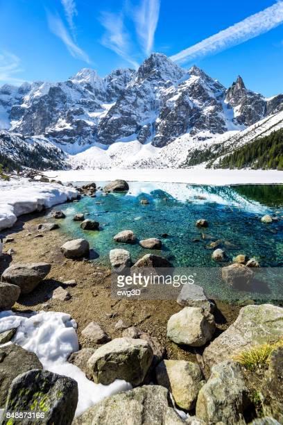 Winter scene with Morskie Oko lake in Tatra Mountains, Poland