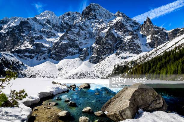 Winter scene with Morskie Oko lake in Tatra Mountains, Poland
