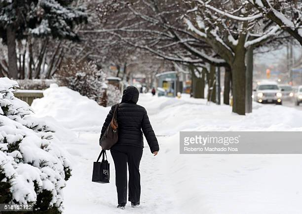 Winter scene Woman walking in snow covered neighborhood due to extreme snow storm