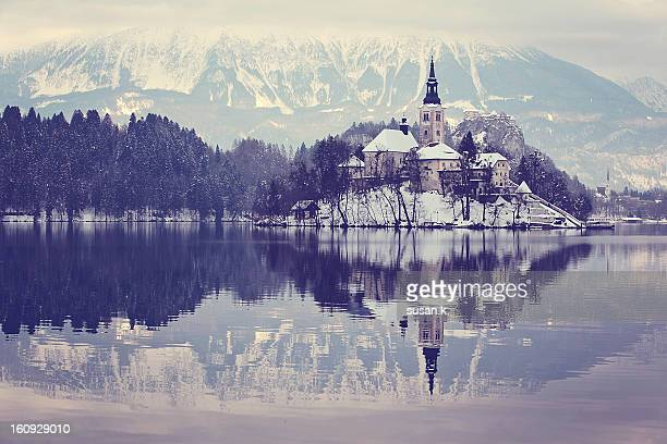 Winter scenery of lake and island in Bled.