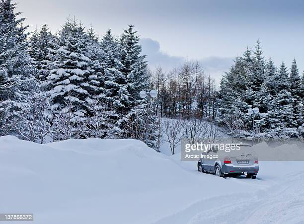 Winter scenic with small car