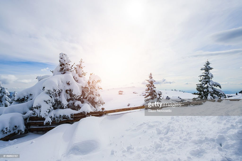 Winter Scenics With Snow Covered Cottage : Stock Photo