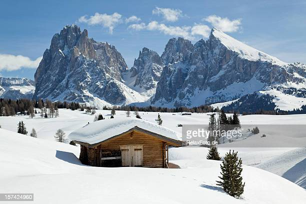 winter scenics with wooden shed and langkofel mountain (dolomites, italy) - hut stock pictures, royalty-free photos & images