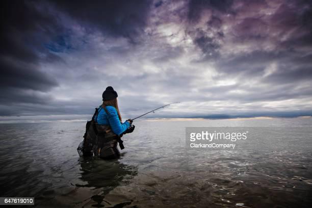 Winter Sea Fishing at Møns Klint Denmark