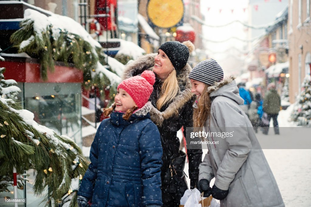 Winter shopping for mother and preteen girl. : Stock Photo