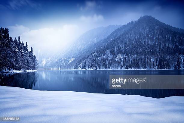 Winter shot of lake in mountains