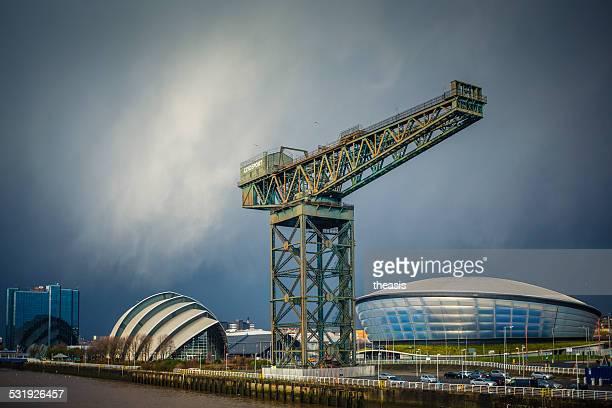 Invierno ducha onThe río Clyde, Glasgow