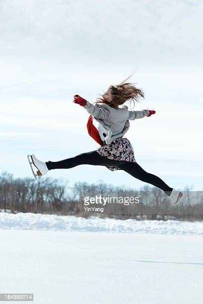 Winter Skater Practising on Outdoor Ice Rink