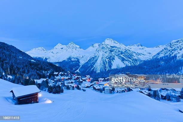winter ski resort arosa, switzerland - アロサ ストックフォトと画像