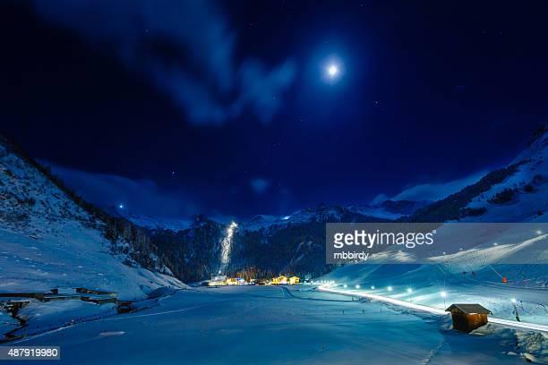 Winter ski resort Hintertux by night, Tirol, Austria