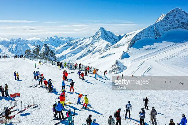 winter ski resort hintertux, tirol, austria - austria stock pictures, royalty-free photos & images