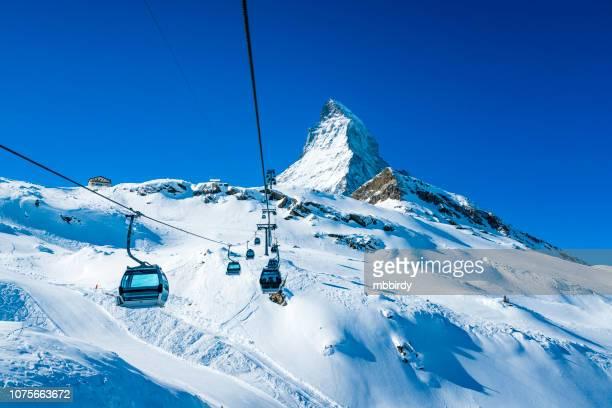 winter ski resort zermatt, switzerland - winter sport stock pictures, royalty-free photos & images