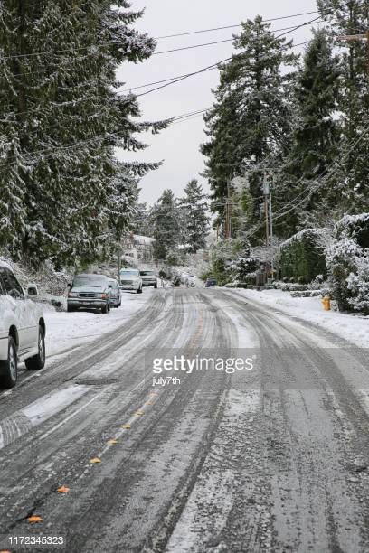 winter slippery road - sleet stock photos and pictures