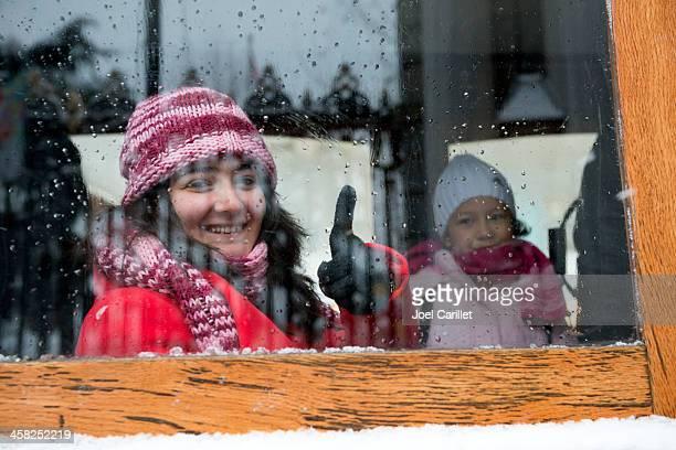 Winter smile on Istiklal Avenue tram in Istanbul, Turkey