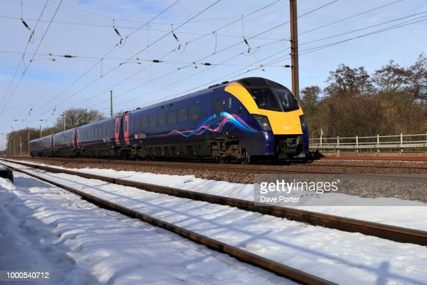 winter snow, 180111 first hull trains, east coast main line rail - train stock photos and pictures