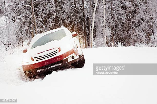winter snow accident car in a ditch - ditch stock photos and pictures