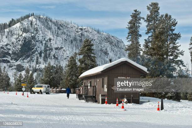 Winter Snow at a Warming Hut in Yellowstone National Park