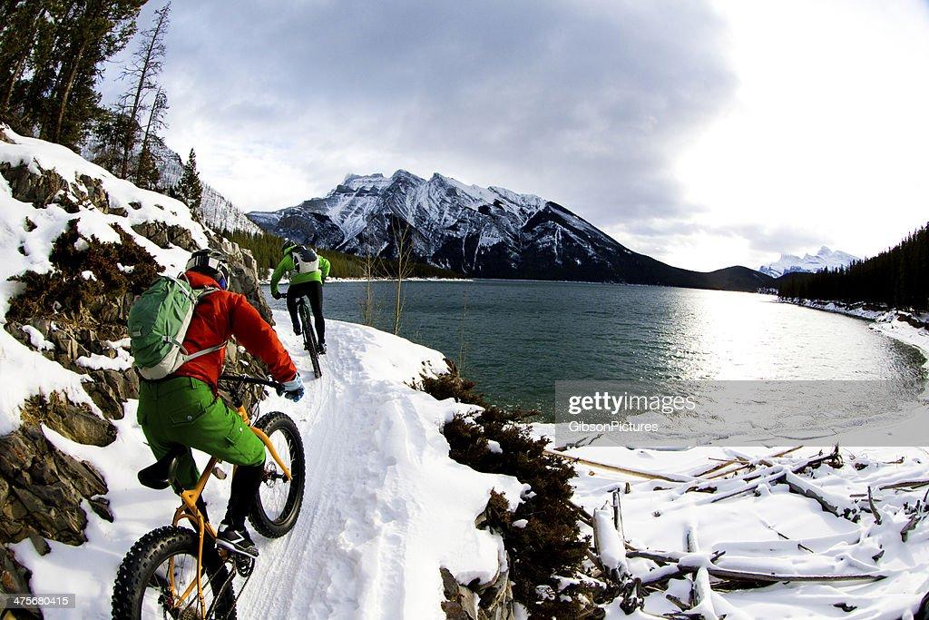 Winter Snow Biking : Stock Photo