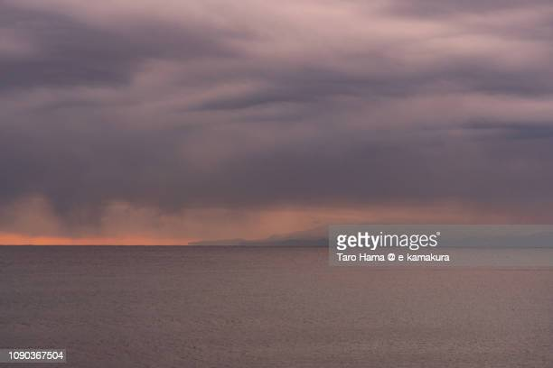 Winter snow clouds on Izu Peninsula and Sagami Bay, Northern Pacific Ocean in Japan