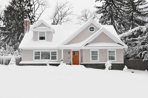 Winter Snow Craftman Cape Cod Style Home 162264365