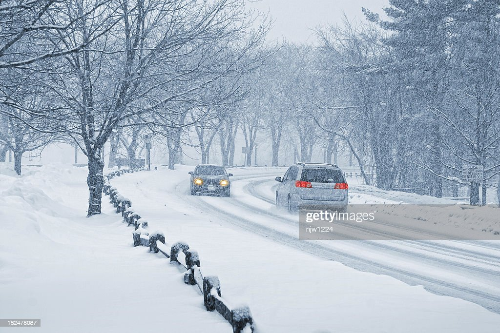 Winter Snow Driving : Stock Photo