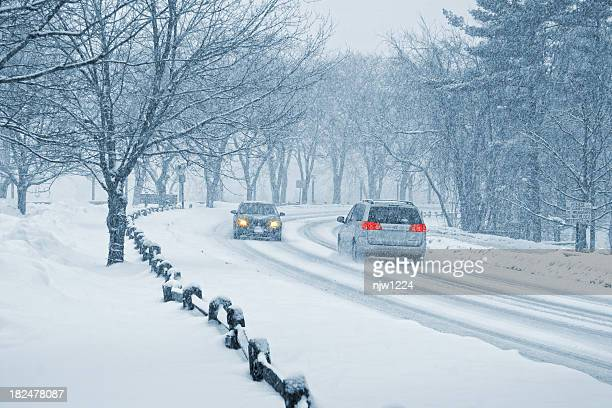 winter snow driving - sleet stock photos and pictures