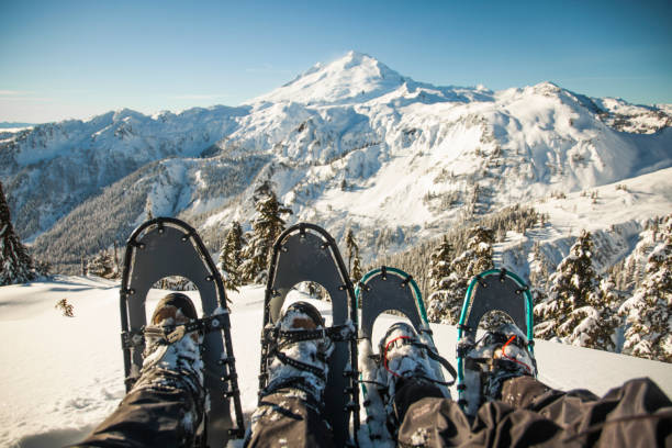 Winter snowshoes in front of Mount Baker.