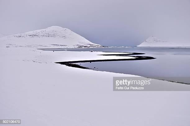 Winter snowy fjord landscape at Dyrafjordur in Westfjords of Iceland